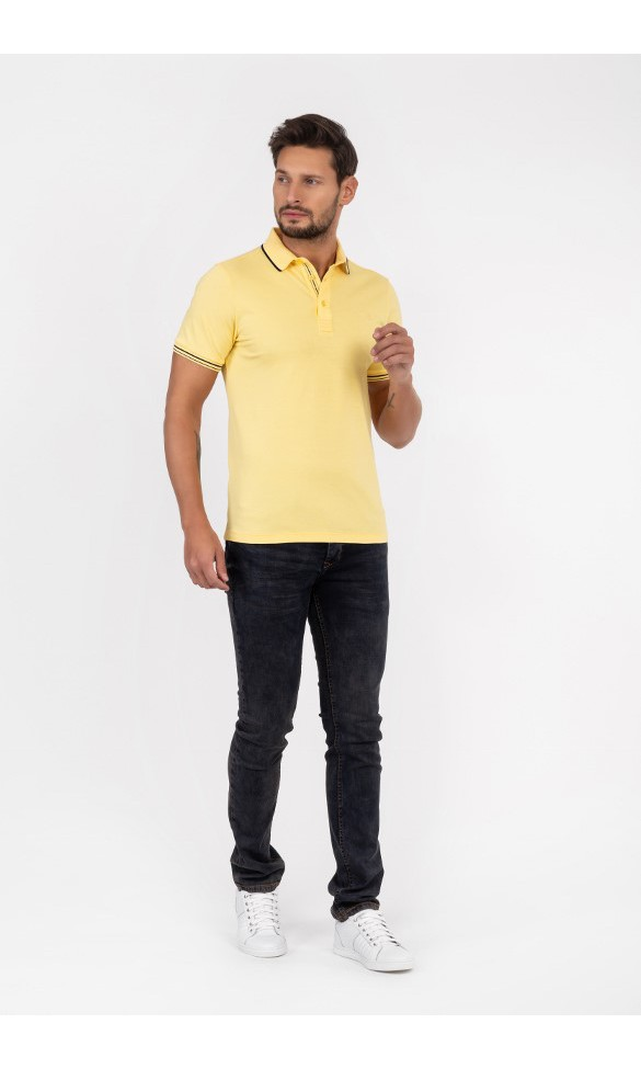 Polo męskie Szczepan pastelowo żółte