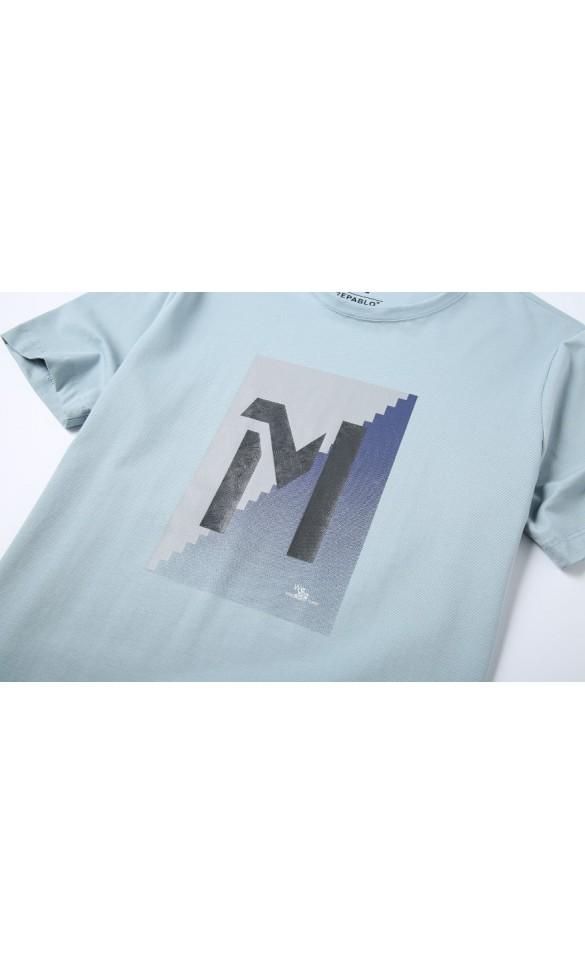 T-shirt męski Samuel błękitny