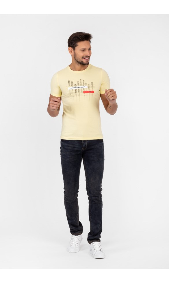 T-shirt męski Sebastian pastelowy żółty