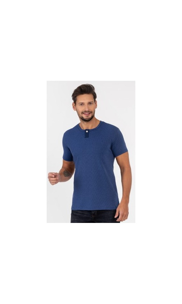 T-shirt męski Wincenty niebieski