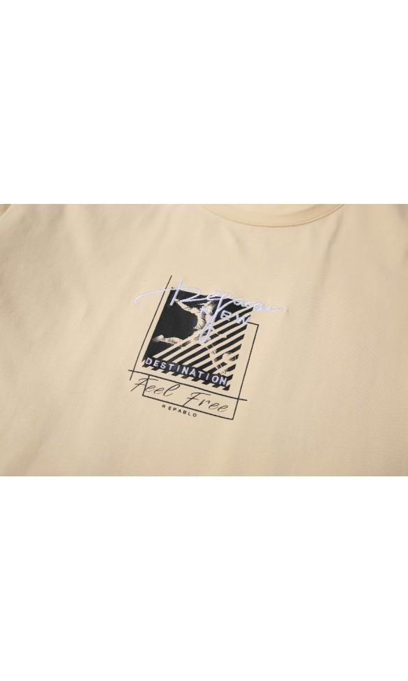 T-shirt męski Wiktor pastelowy żółty