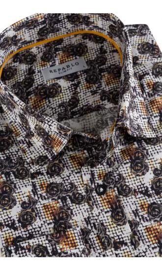 Koszula męska Ambroży biało żółto brązowa