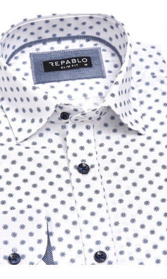 Koszula męska Ricardo biało-niebieska