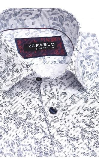 Koszula męska Santino biało-granatowa