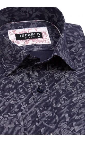 Koszula męska Santino granatowo-szara