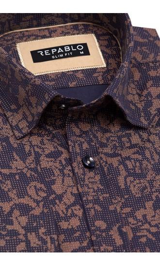 Koszula męska Santino granatowo-brązowa
