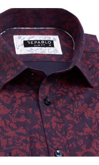 Koszula męska Santino granatowo-czerwona