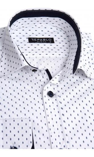 Koszula męska Ricardo biało-granatowa