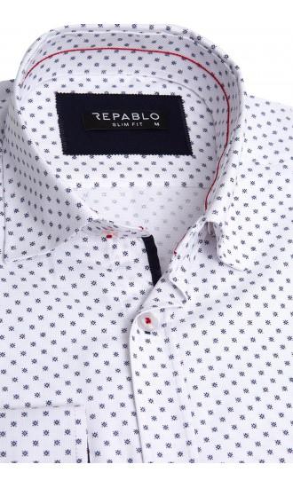 Koszula męska Miguel biało-granatowo-czerwona