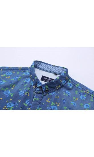 Koszula męska Basil jasny jeans w kwiaty