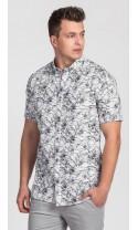 Koszula męska Basil biało-czarna