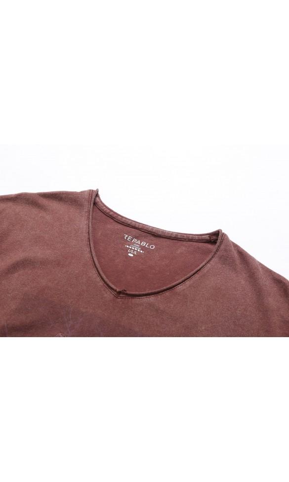 T-shirt męski Edmund brązowy