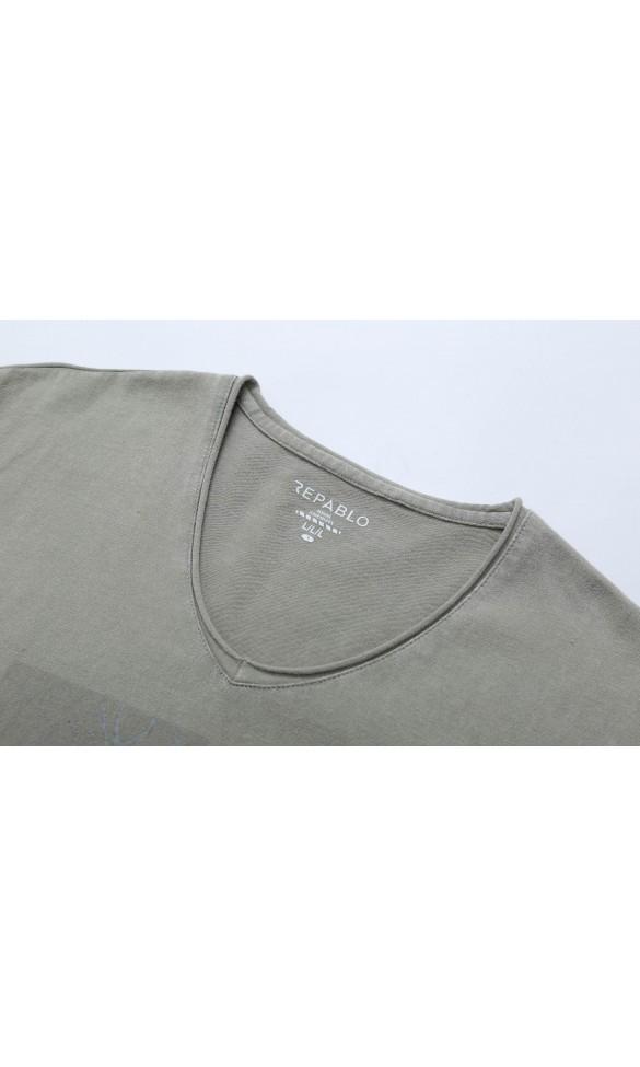 T-shirt męski Edmund kremowy