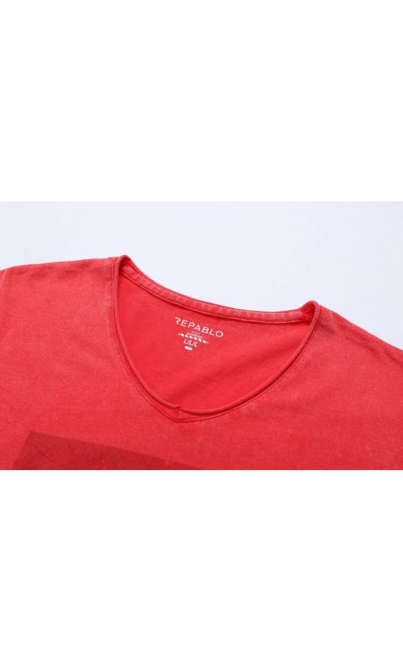 T-shirt męski Edmund czerwony