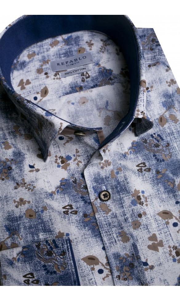 Koszula męska Igor biało-granatowo-brązowa