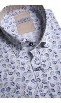 Koszula męska Hubert biało-granatowo-brązowa