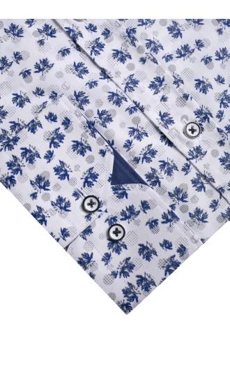Koszula męska Hubert biało-granatowo-szara