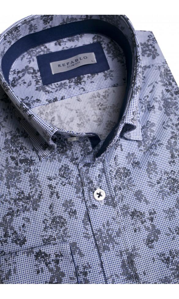Koszula męska Ernest niebiesko-szara