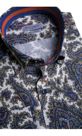 Koszula męska Casper biało-brązowo- granatowa