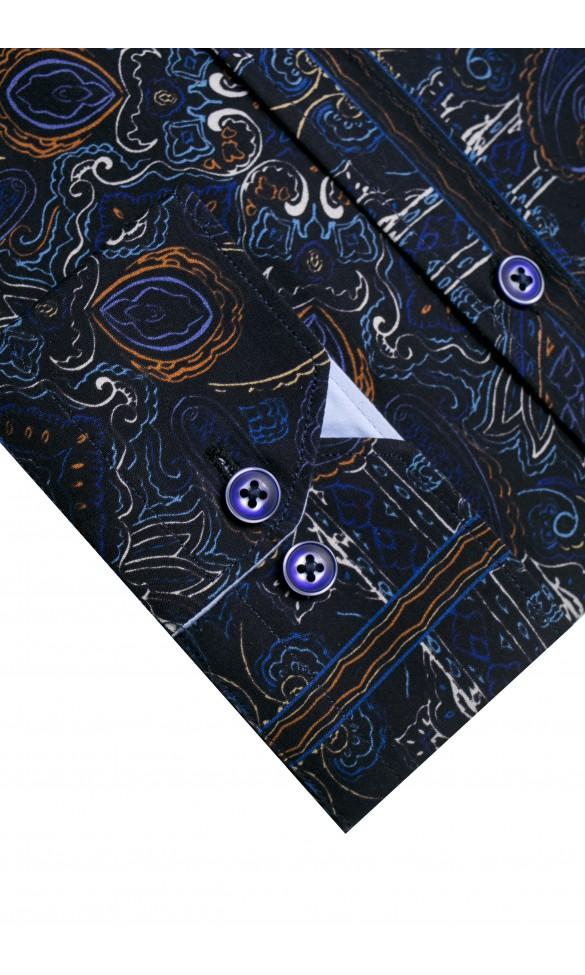 Koszula męska Horace granatowo-niebiesko-biało-pomarańczowa