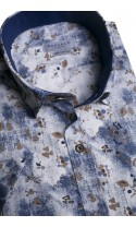 Koszula męska Matt biało-granatowo-brązowa