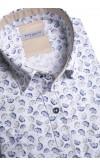 Koszula męska Myron biało-granatowo-brązowa