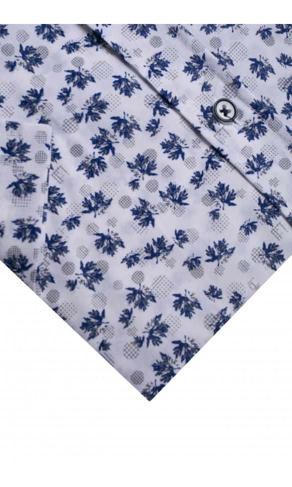 Koszula męska Myron biało-granatowo-szara