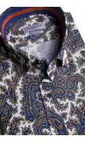 Koszula męska Roger biało-brązowo-granatowa