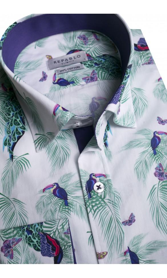 Koszula męska Roland biało-zielono-granatowa