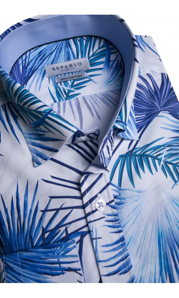 Koszula męska Serge biało-niebieska