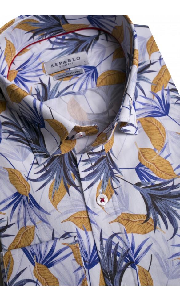 Koszula męska Serge biało-granatowo-żółta