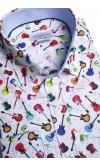 Koszula męska Vitalio biało-czerwono-pomarańczowo-niebieska