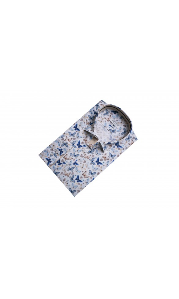 Koszula męska Valt biało-niebiesko-beżowa