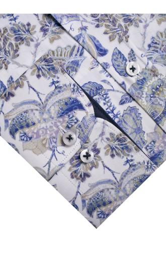 Koszula męska Victor biało-niebiesko-beżowa