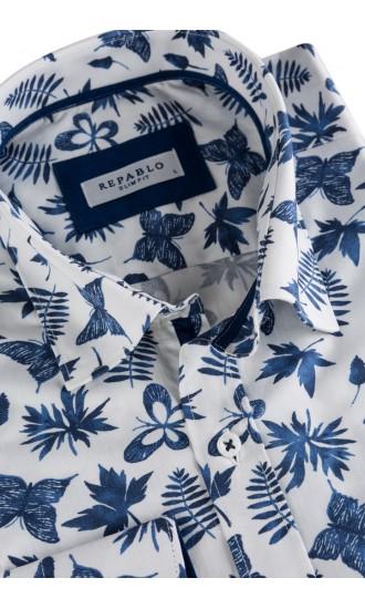 Koszula męska Alfred biało niebieska