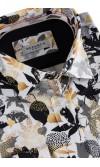 Koszula męska Ambroży biało żółto czarna