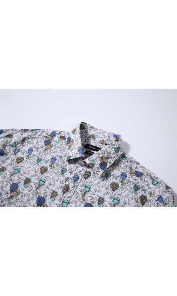 Koszula męska Nathan kolorowa z zielenią