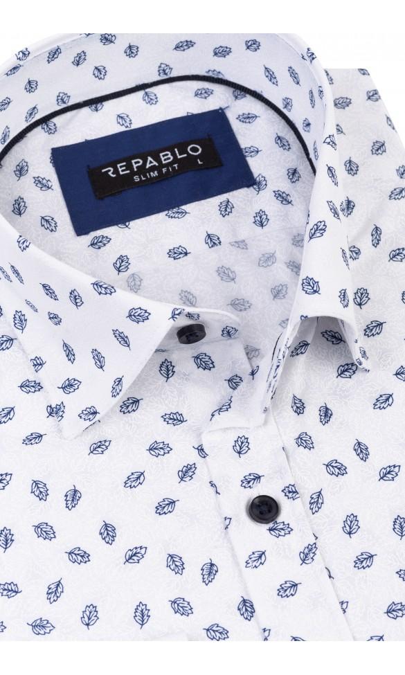 Koszula męska Łukasz biało niebieska