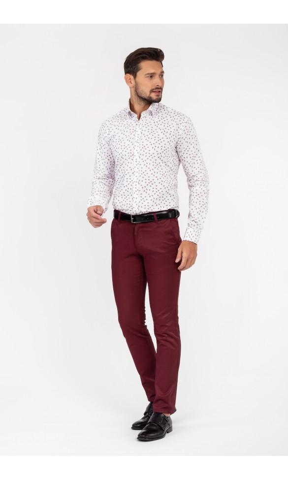 Koszula męska Łukasz biało czerwona