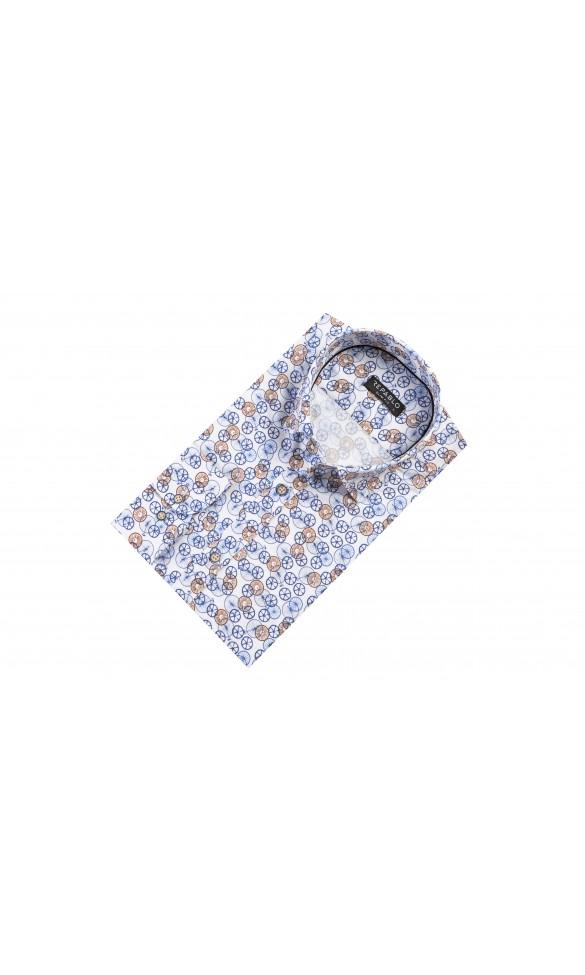 Koszula męska Ernest biało granatowo brązowa