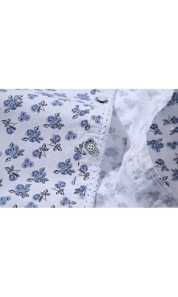 Koszula męska Kacper biało niebieska