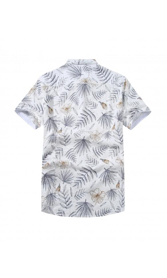 Koszula męska Kacper biała z brązem
