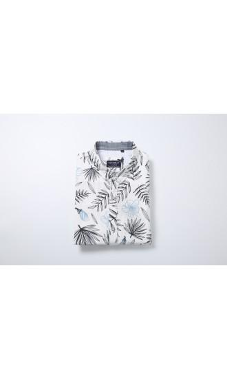 Koszula męska Kacper biała z niebieskim