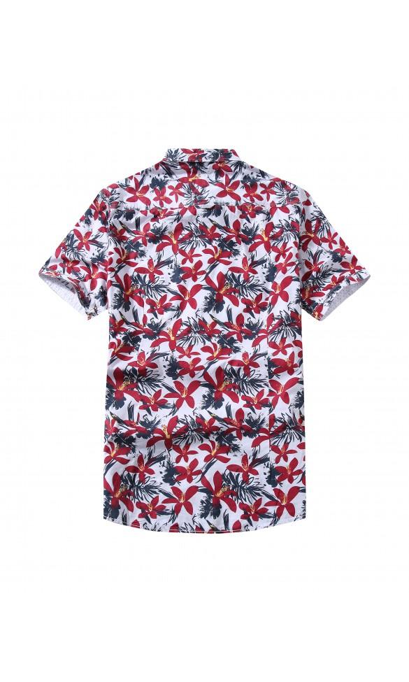 Koszula męska Kacper biało czerwona